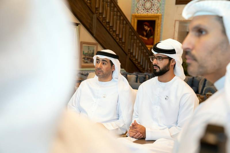 ABU DHABI, UNITED ARAB EMIRATES - September 19, 2019: HH Sheikh Zayed bin Hamdan bin Zayed Al Nahyan (R) and  HE Ali Saeed Al Neyadi  (L), attend a meeting with Michael R Pompeo, Secretary of State of the United States of America (not shown), at the Sea Palace   ( Mohamed Al Hammadi / Ministry of Presidential Affairs ) ---