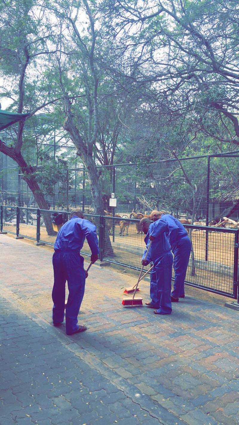 Sheikh Mohammed bin Rashid ordered the three men arrested for feeding a live cat to their dogs to clean Dubai zoo as community service. 15 March 2017. Photo Courtesy: Government of Dubai Media Office *** Local Caption ***  on16mr-ZooClean.jpg