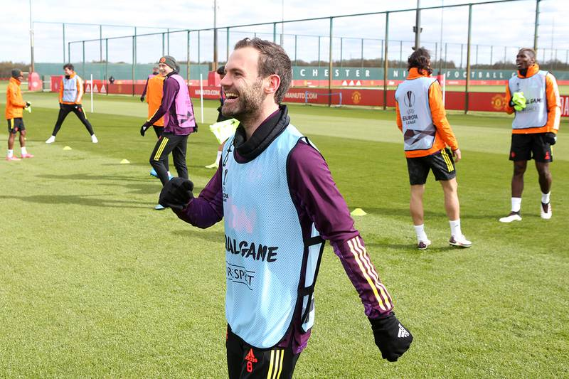MANCHESTER, ENGLAND - APRIL 07: Juan Mata of Manchester United reacts during a first team training session at Aon Training Complex on April 7, 2021 in Manchester, England. (Photo by Matthew Peters/Manchester United via Getty Images)