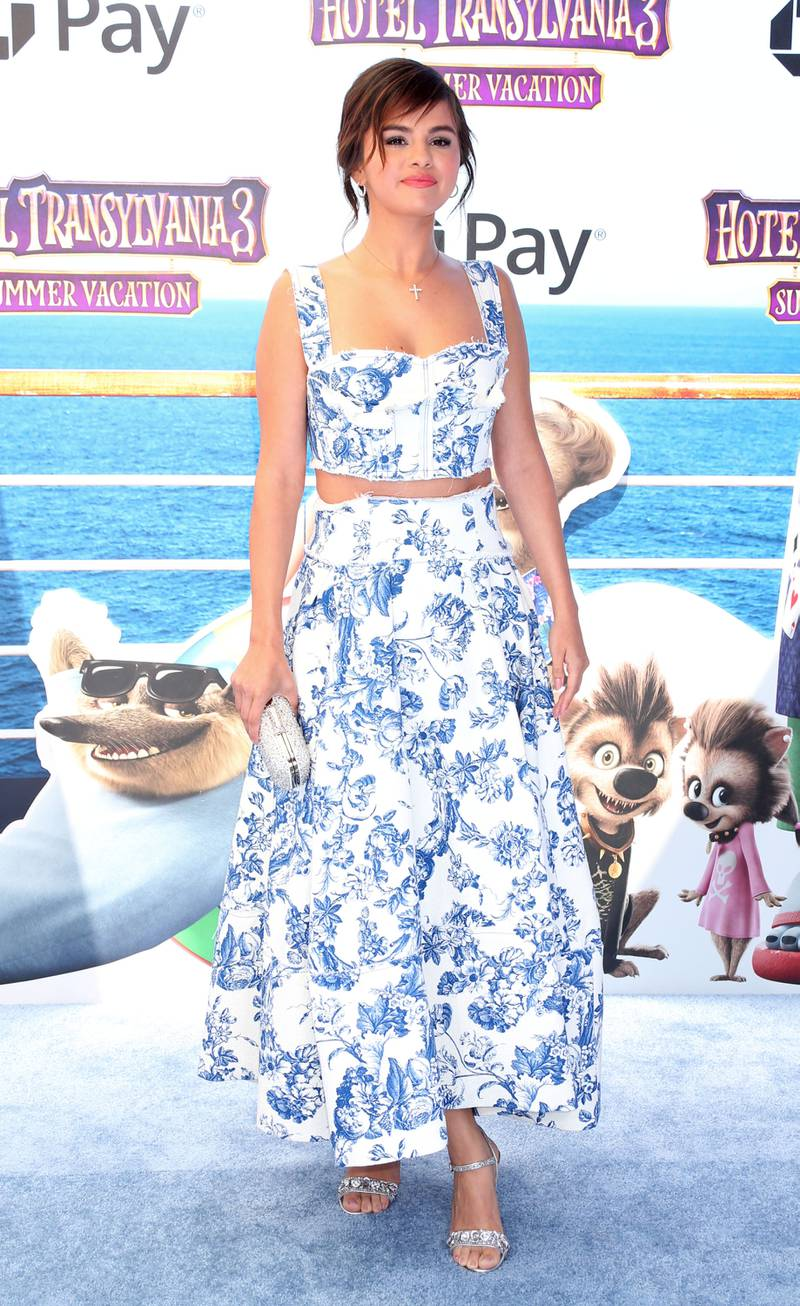 epa06853863 American singer and actress Selena Gomez arrives for the film premiere of 'Hotel Transylvania 3: Summer Vacation' at the Regency Village Theatre in Westwood, California, USA, 30 June 2018.  EPA-EFE/JIMMY MORRISON