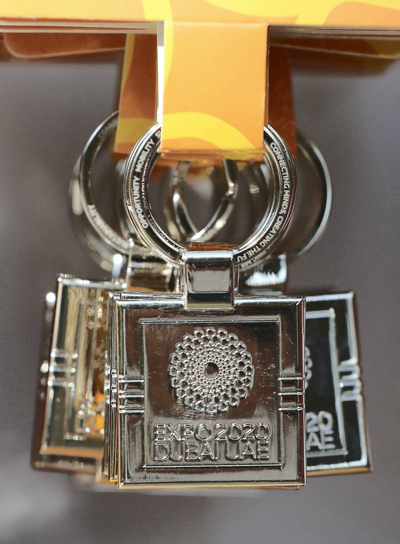 DUBAI , UNITED ARAB EMIRATES, Jan 13  – 2020 :- Souvenir of Expo 2020 for visitors on display at the Expo 2020 house of Volunteers office in Dubai.  (Pawan Singh / The National) For News/Big Picture/Online/Instagram. Story by Ramola