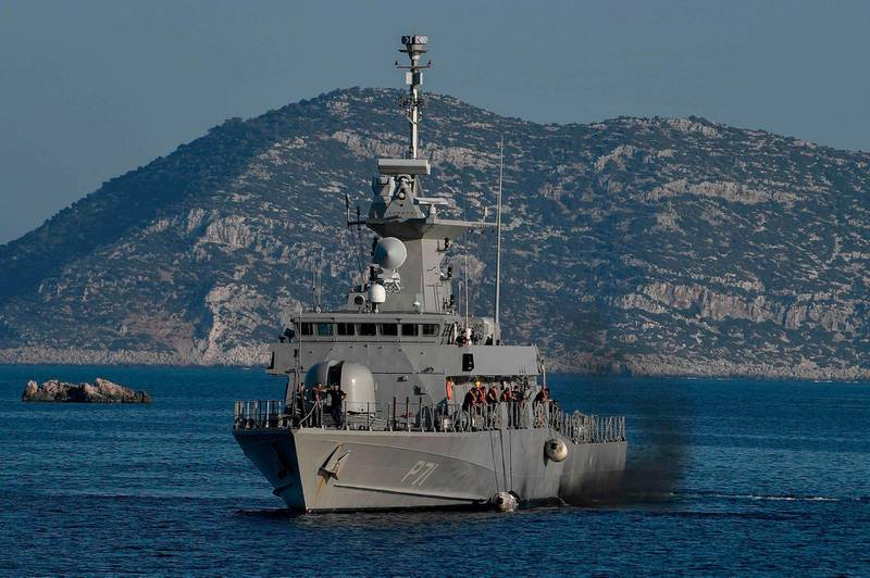The Hellenic Navy Roussen or Super Vita class Fast Missile Patrol Boat P 71 HS Ritsos patrols off the tiny Greek island of Kastellorizo (Megisti), in the Dodecanese, the furthest south eastern Greek Island, two kilometers from the Turkish mainland on August 28, 2020.   / AFP / Louisa GOULIAMAKI