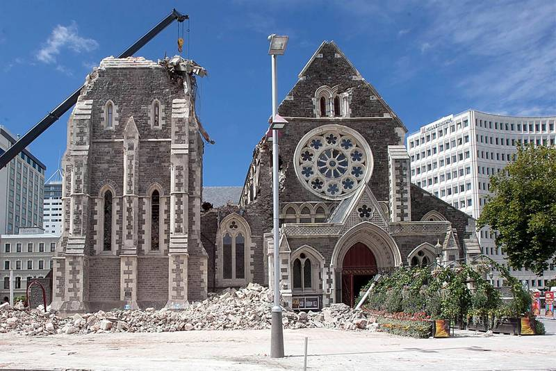 The damaged Christchurch Cathedral on February 24, 2011, two days after a deadly 6.3 magnitude earthquake rocked New Zealand's second city. AFP