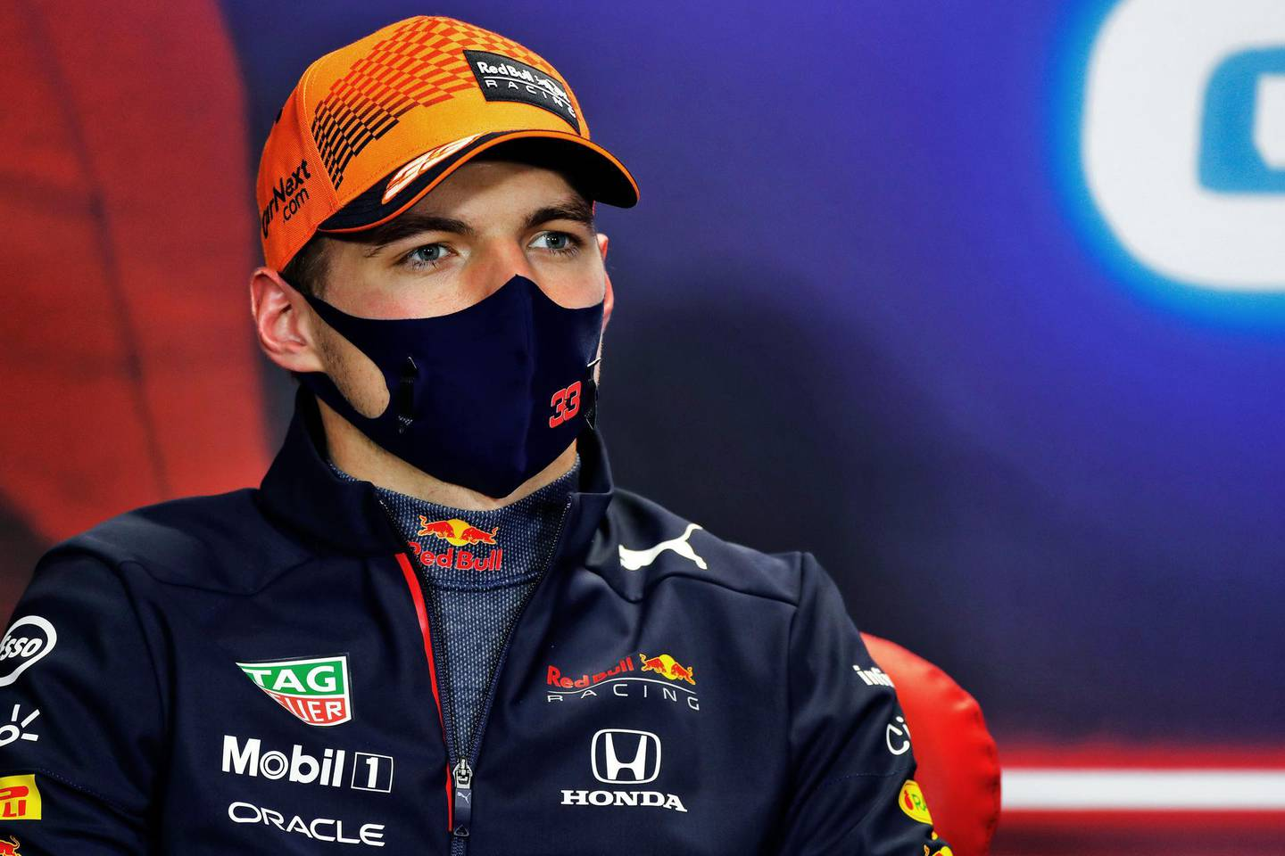 PORTIMAO, PORTUGAL - MAY 02: Second placed Max Verstappen of Netherlands and Red Bull Racing talks during a Press Conference after the F1 Grand Prix of Portugal at Autodromo Internacional Do Algarve on May 02, 2021 in Portimao, Portugal. (Photo by Al Staley - Pool/Getty Images)