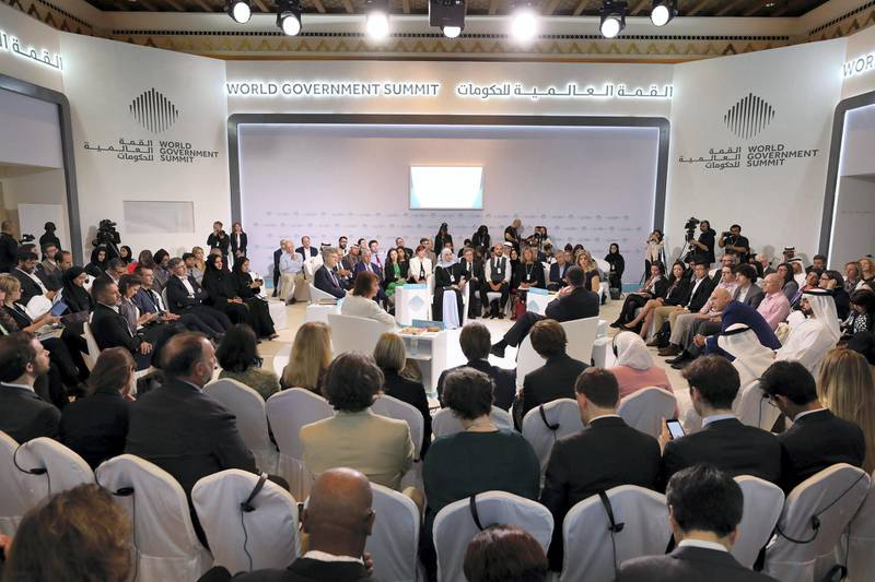 Dubai, United Arab Emirates - February 10, 2019: Launching the Global Happiness and Wellbeing Policy Report during day 1 at the World Government Summit. Sunday the 10th of February 2019 at Madinat, Dubai. Chris Whiteoak / The National