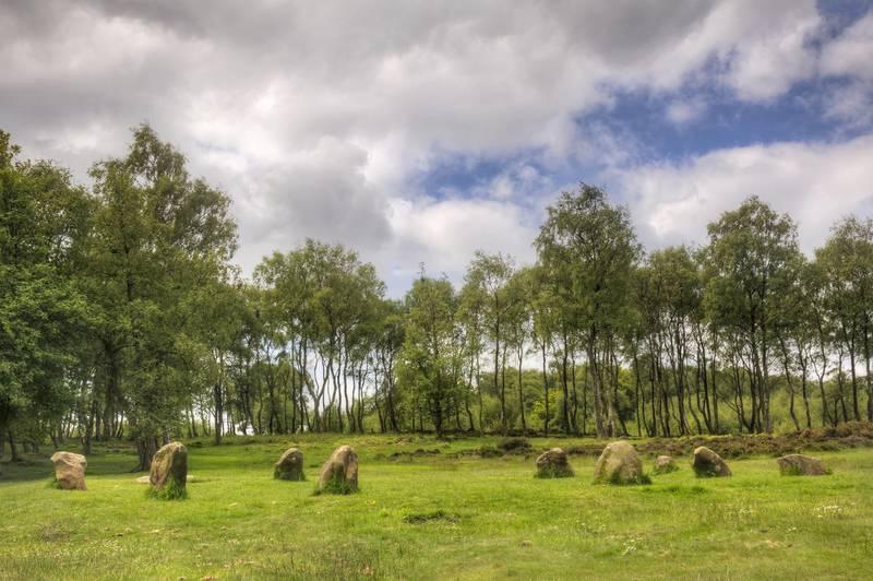 Mandatory Credit: Photo by Julie Woodhouse/imageBROKER/Shutterstock (4980889a)Nine Ladies Stone Circle, Stanton Moor, Derbyshire, EnglandVARIOUS