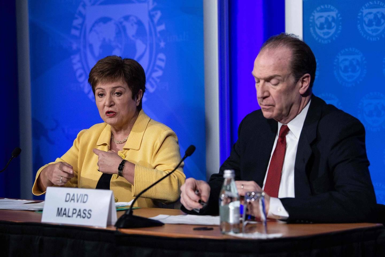 IMF Managing Director Kristalina Georgieva (L) speaks at a press briefing with World Bank Group President David Malpass on COVID-19 in Washington, DC, on March 4, 2020. / AFP / NICHOLAS KAMM