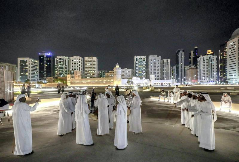Abu Dhabi, United Arab Emirates, May 18, 2019. –  'Ramadan at Al Hosn', which aims to revive the authentic traditions of Ramadan by recalling the memories rooted in our past, when the people of Abu Dhabi gathered at Qasr Al Hosn to celebrate the holy month. --  Traditional Emirati dance, the Ayala.Victor Besa/The NationalSection:  NAReporter: