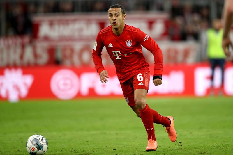 MUNICH, GERMANY - DECEMBER 14: Thiago Alcantara of FC Bayern Muenchen runs with the ball during the Bundesliga match between FC Bayern Muenchen and SV Werder Bremen at Allianz Arena on December 14, 2019 in Munich, Germany. (Photo by Alexander Hassenstein/Bongarts/Getty Images)