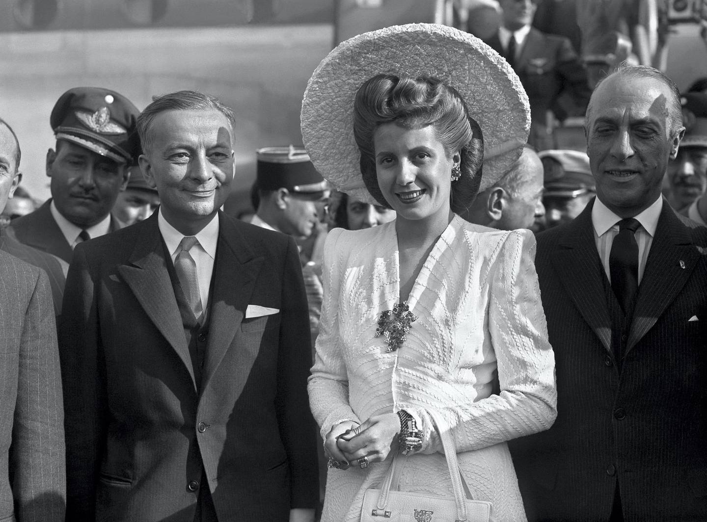 French foreign minister Georges Bidault (R) greets Argentinean Eva Peron, 21 July 1947, as she arrives at Orly airport for a visit in France. Eva Peron, known as Evita (1919-1952), the second wife of Argentine President Juan Peron, was a radio and screen actress before her marriage in 1945. She became a powerful political influence and a mainstay of the Peron government. She was idolized by the poor, and after her death, in Buenos Aires, support for her husband waned. AFP PHOTO / AFP PHOTO / PIGISTE