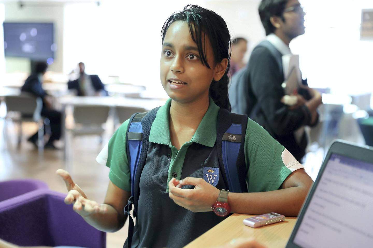 DUBAI, UNITED ARAB EMIRATES , October 30  – 2019 :- Ishika Yadavalli , student of year 11 during the interview at the Investars programme by Zurich held at Gems Wellington International School on Sheikh Zayed road in Dubai. ( Pawan Singh / The National )  For Business. Story by Nada