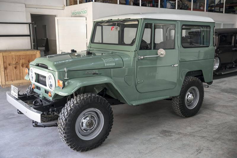 DUBAI, UNITED ARAB EMIRATES. 04 FEBRUARY 2018. Workshop visit to Dubai company Sebsports that restores vintage Land Rovers And Toyota Land Cruisers to concours standard at their Al Quoz workshop. A 1969 fj40 Land Cruiserin Nebula Green that is the period correct paint. (Photo: Antonie Robertson/The National) Journalist: Adam Workman. Section: Motoring.