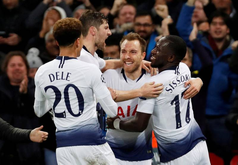 FILE PHOTO: Soccer Football - Champions League - Group Stage - Group B - Tottenham Hotspur v Inter Milan - Wembley Stadium, London, Britain - November 28, 2018  Tottenham's Christian Eriksen celebrates with Ben Davies, Dele Alli and Moussa Sissoko after scoring their first goal   Action Images via Reuters/Paul Childs/File Photo