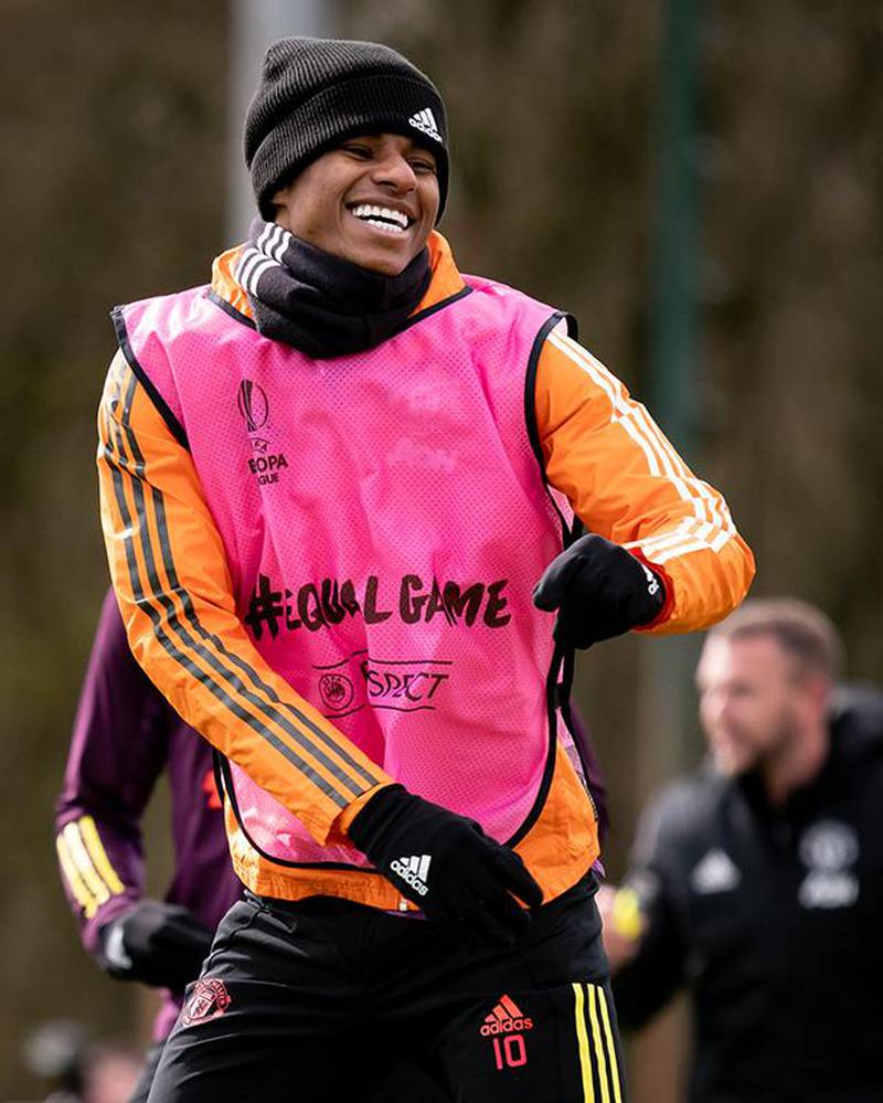 MANCHESTER, ENGLAND - APRIL 07:  Marcus Rashford of Manchester United reacts during a first team training session at Aon Training Complex on April 7, 2021 in Manchester, England. (Photo by Ash Donelon/Manchester United via Getty Images)