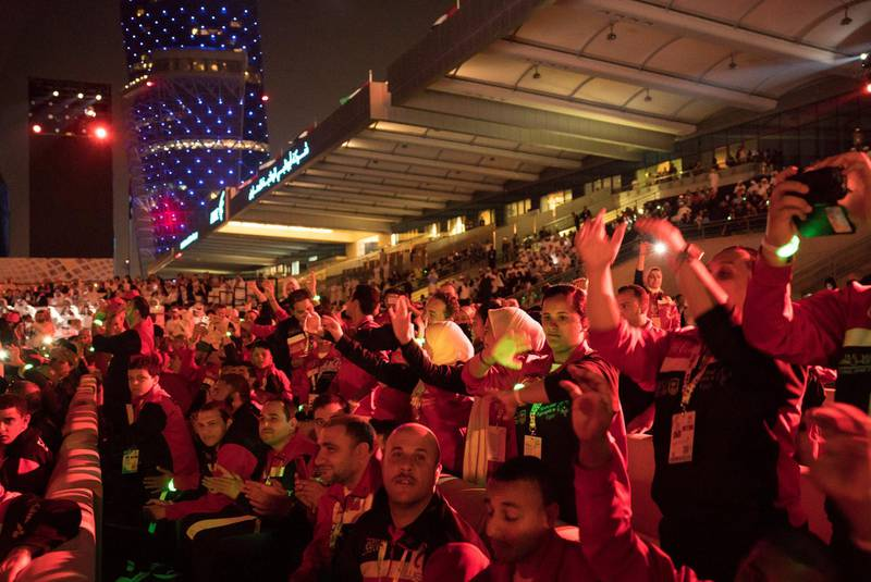 ABU DHABI, UNITED ARAB EMIRATES - March 17, 2018: Participants attend the opening ceremony of the Special Olympics IX MENA Games Abu Dhabi 2018, at the Abu Dhabi National Exhibition Centre (ADNEC).( Ryan Carter for the Crown Prince Court - Abu Dhabi )