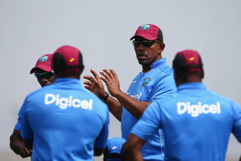 ANTIGUA, ANTIGUA AND BARBUDA - APRIL 11:  Phil Simmons (2R) the head coach of West Indies during the West Indies nets session at the Sir Vivian Richards Stadium on April 11, 2015 in Antigua, Antigua and Barbuda.  (Photo by Michael Steele/Getty Images)