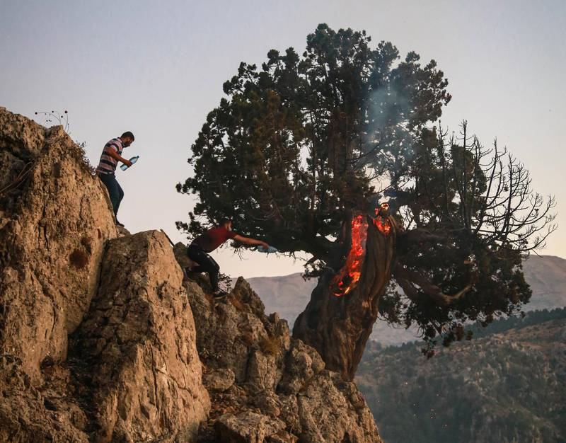 Volunteers use water bottles to try and put out a burning juniper tree in Jird Meshmesh, in Lebanon's Akkar region on Aug. 24, 2020