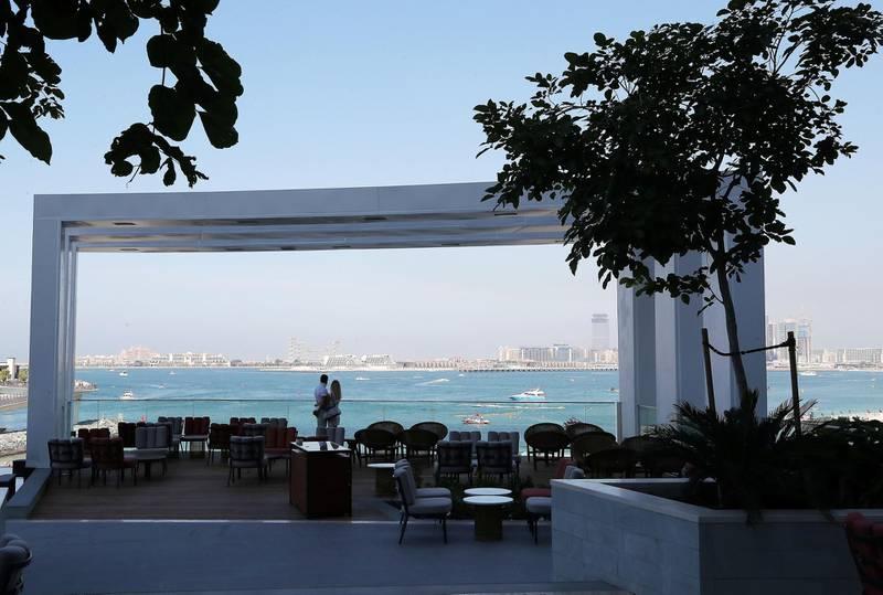 DUBAI, UNITED ARAB EMIRATES , December 24 – 2020 :-  Outside sitting area of the Li Brasil restaurant at the Address Beach Resort near Jumeirah Beach Residences in Dubai. ( Pawan Singh / The National ) For Lifestyle. Story by Janice