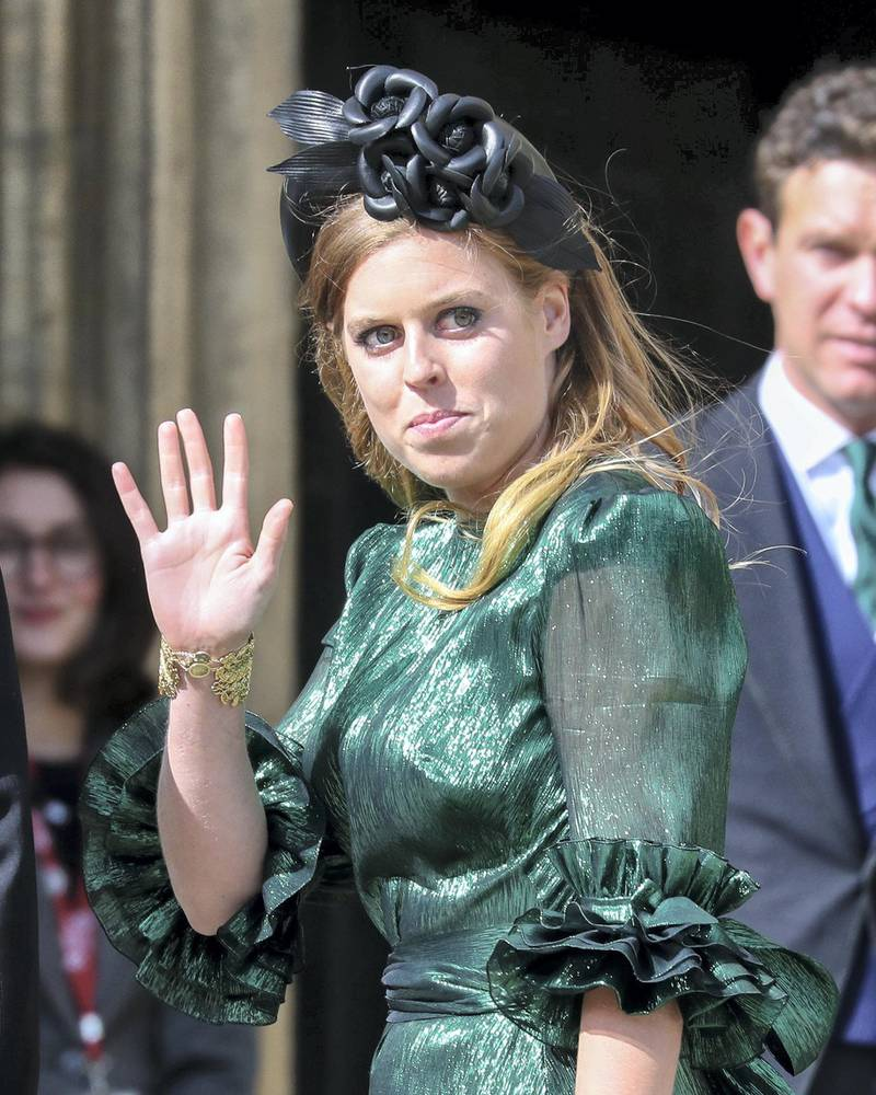 YORK, ENGLAND - AUGUST 31: Princess Beatrice of York seen at the wedding of Ellie Goulding and Caspar Jopling at York Minster Cathedral on August 31, 2019 in York, England. (Photo by John Rainford/GC Images)