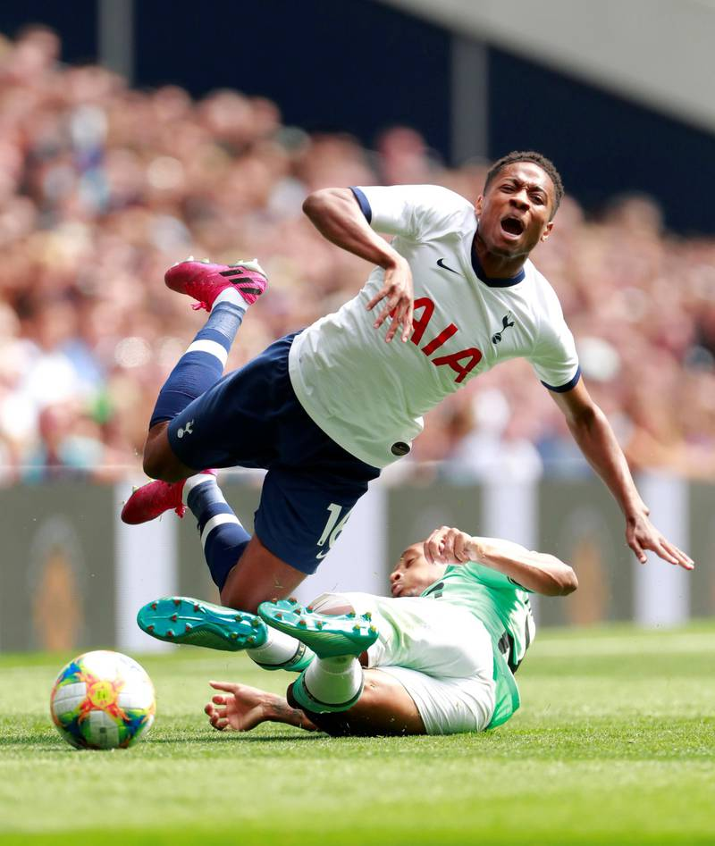 Soccer Football - International Champions Cup - Tottenham Hotspur v Inter Milan - Tottenham Hotspur Stadium, London, Britain - August 4, 2019  Tottenham Hotspur's Kyle Walker-Peters in action with Inter Milan's Dalbert Henrique  Action Images via Reuters/Andrew Couldridge
