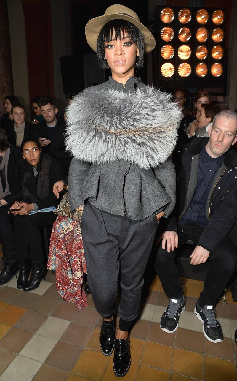 PARIS, FRANCE - FEBRUARY 27:  Rihanna attends the Lanvin show as part of the Paris Fashion Week Womenswear Fall/Winter 2014-2015 on February 27, 2014 in Paris, France.  (Photo by Pascal Le Segretain/Getty Images)