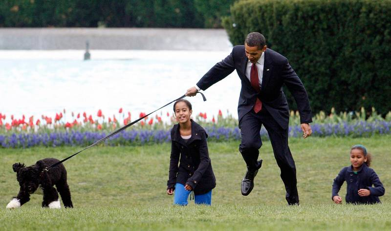"""FILE - In this April 14, 2009, file photo President Barack Obama is almost jerked off his feet as he shows off their new dog Bo, a 6-month-old Portuguese water dog with his daughters Malia, left, and Sasha Obama, right, on the South Lawn of the White House in Washington. The arrival of the Biden pets will also mark the next chapter in a long history of pets residing at the White House after a four-year hiatus during the Trump administration. """"Pets have always played an important role in the White House throughout the decades,"""" said Jennifer Pickens, an author who studies White House traditions.   (AP Photo/Ron Edmonds, File)"""