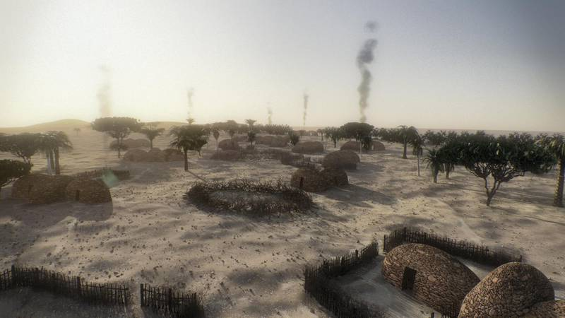Hypothetical Computer Reconstruction the village of  Marawah 8000 years ago © 2018 Image Nation Abu Dhabi FZ LLC.