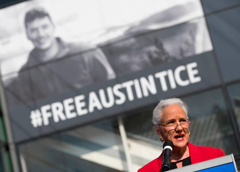 (FILES) In this file photo taken on November 02, 2016 Debra Tice speaks about her son Austin Tice, the only US journalist held captive in Syria, during the unveiling of a new banner calling for his release at the Newseum in Washington, DC. - Family and supporters of missing US journalist Austin Tice on August 14, 2018, will mark six years since his disappearance in Syria amid ongoing uncertainty about his whereabouts or condition. Tice's parents are scheduled to appear at a National Press Club exhibit opening featuring Tice's photographs from Syria. (Photo by Andrew CABALLERO-REYNOLDS / AFP)
