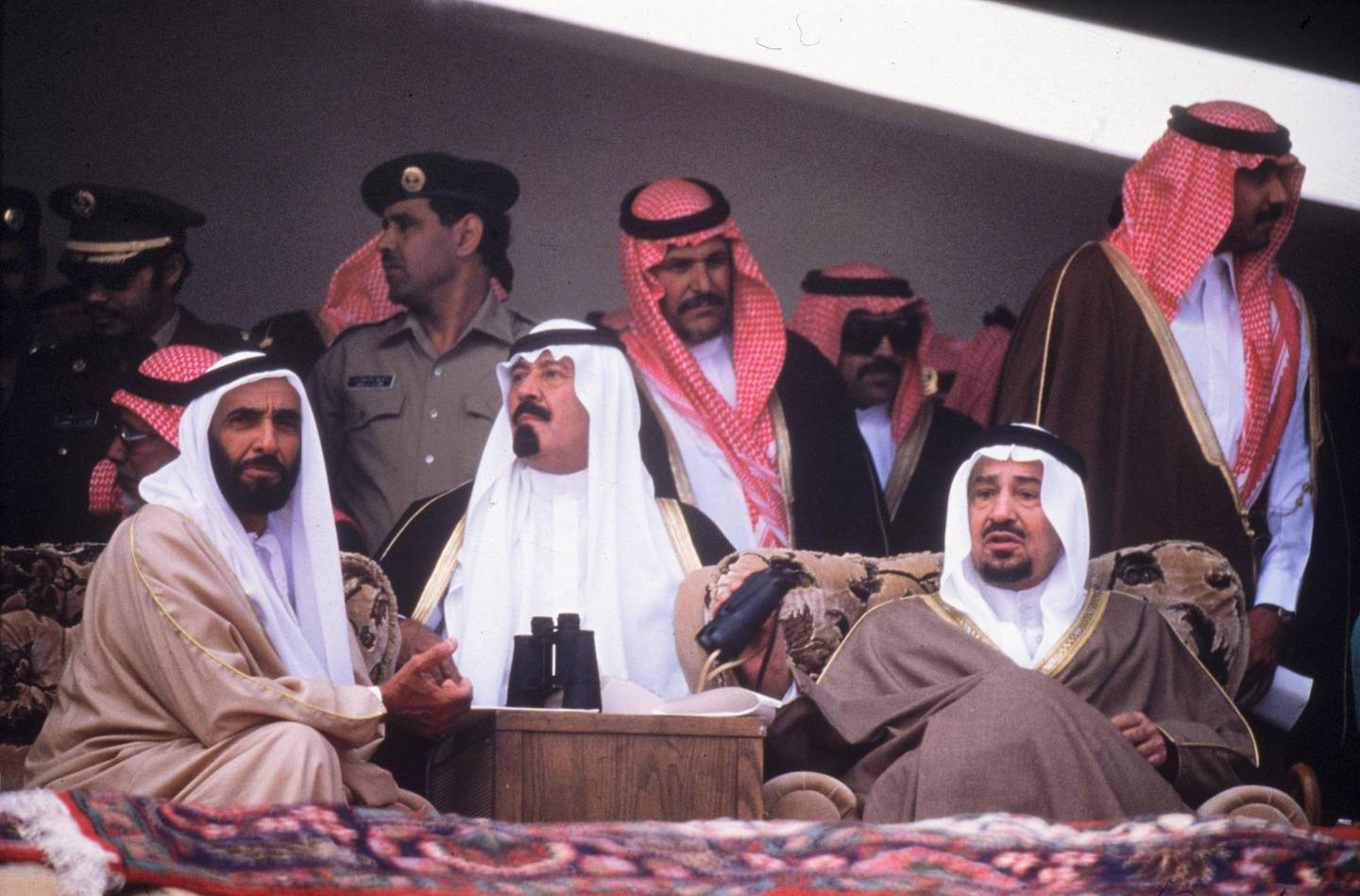 circa 1980:  From left to right, Sheikh Zayed bin Sultan Al-Nahyan, President of the UAE (United Arab Emirates), Prince Abdullah Ibn Abdul Aziz, the Crown Prince of Saudi Arabia and King Khalid of Saudi Arabia.  (Photo by Hulton Archive/Getty Images)