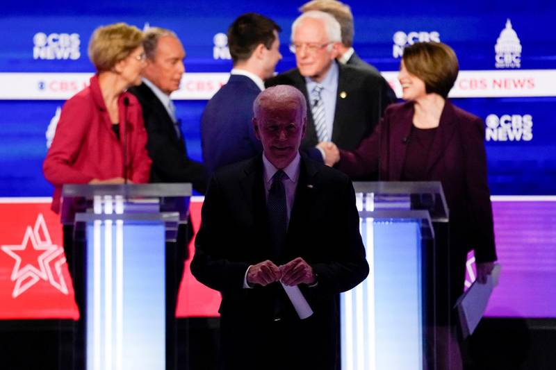 Democratic 2020 U.S. presidential candidate and former Vice President Joe Biden walks off the stage at the conclusion of the tenth Democratic 2020 presidential debate at the Gaillard Center in Charleston, South Carolina, U.S., February 25, 2020. REUTERS/Jonathan Ernst