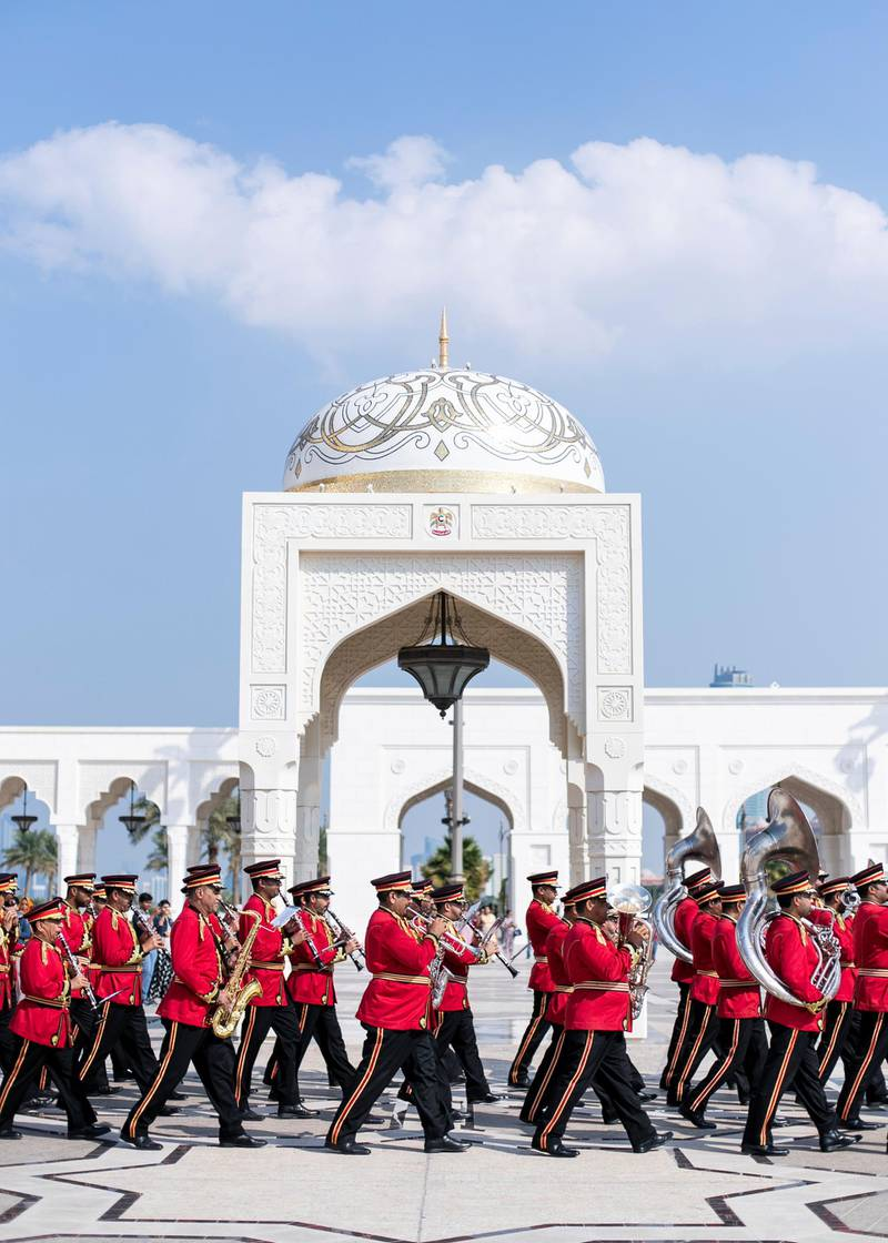 ABU DHABI, UNITED ARAB EMIRATES. 2 DECEMBER 2019. Abu Dhabi's Police Band performs on UAE's National Day celebrations at Qasr Al Watan.(Photo: Reem Mohammed/The National)Reporter:Section: