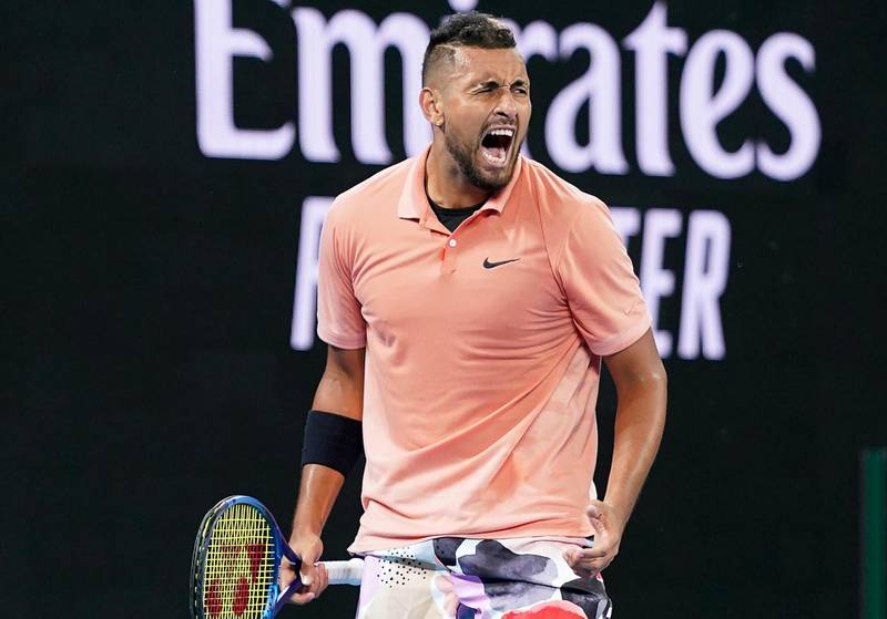 epa08146893 Nick Kyrgios of Australia celebrates after winning his first round match against Lorenzo Sonego of Italy at the Australian Open Grand Slam tennis tournament at Melbourne Arena in Melbourne, Australia, 21 January 2020.  EPA/DAVE HUNT AUSTRALIA AND NEW ZEALAND OUT
