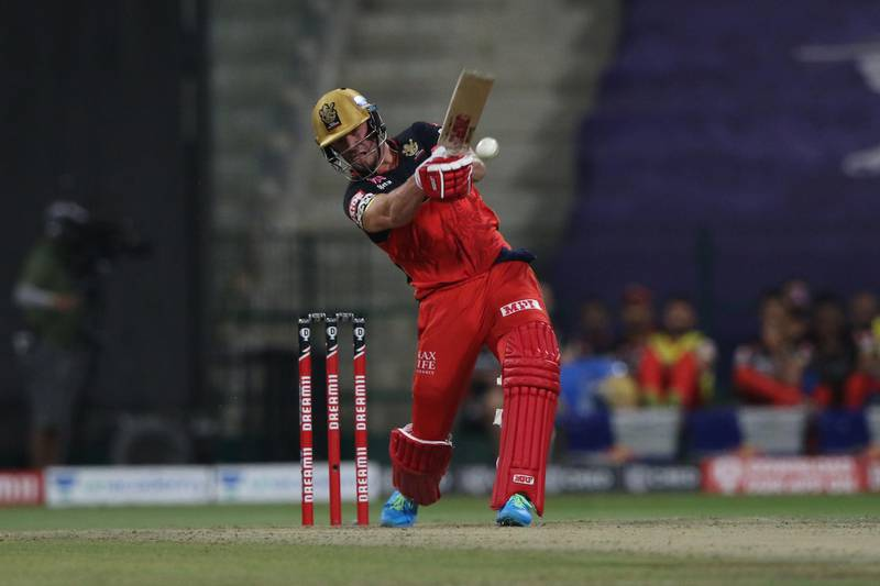 AB de Villiers of the Royal Challengers Bangalore plays a shot during match 55 of season 13 of the Dream 11 Indian Premier League (IPL) between the Delhi Capitals and the Royal Challengers Bangalore at the Sheikh Zayed Stadium, Abu Dhabi  in the United Arab Emirates on the 2nd November 2020.  Photo by: Pankaj Nangia  / Sportzpics for BCCI