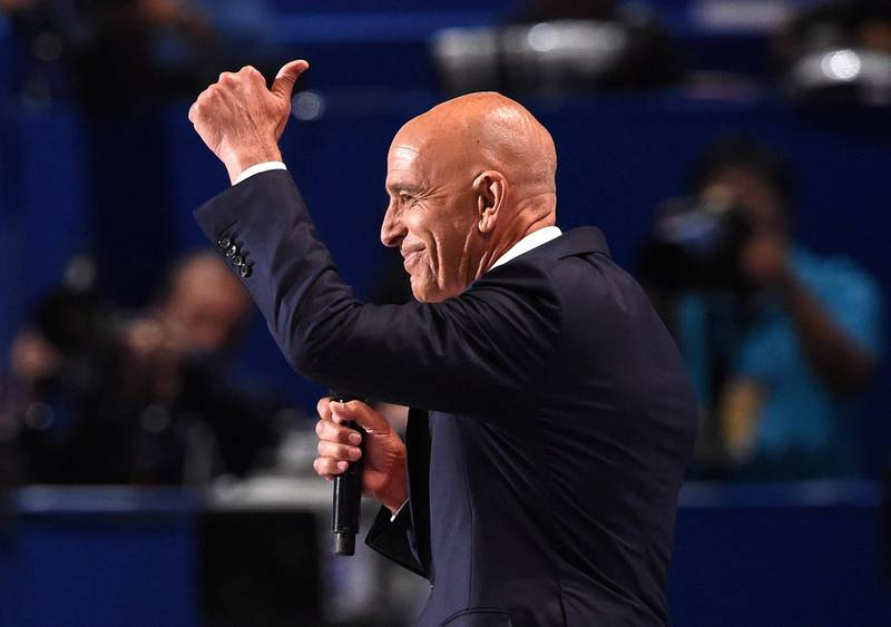 Tom Barrack, CEO of Colony Capital, addresses the final night of the Republican National Convention at Quicken Loans Arena in Cleveland, Ohio, July 21, 2016. / AFP PHOTO / Robyn BECK