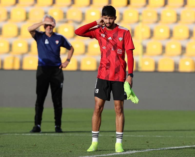 Dubai, United Arab Emirates - Reporter: John McAuley. Sport. Football. UAE player Mohammed Al Attas during a training session at Zabeel Stadium, Dubai. Saturday, March 27th, 2021. Dubai. Chris Whiteoak / The National