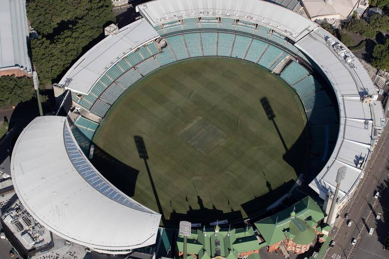 SYDNEY, AUSTRALIA - APRIL 22: An aerial view of the Sydney Cricket Ground on April 22, 2020 in Sydney, Australia. Restrictions have been placed on all non-essential business and strict social distancing rules are in place across Australia in response to the COVID-19 pandemic.  (Photo by Ryan Pierse/Getty Images)