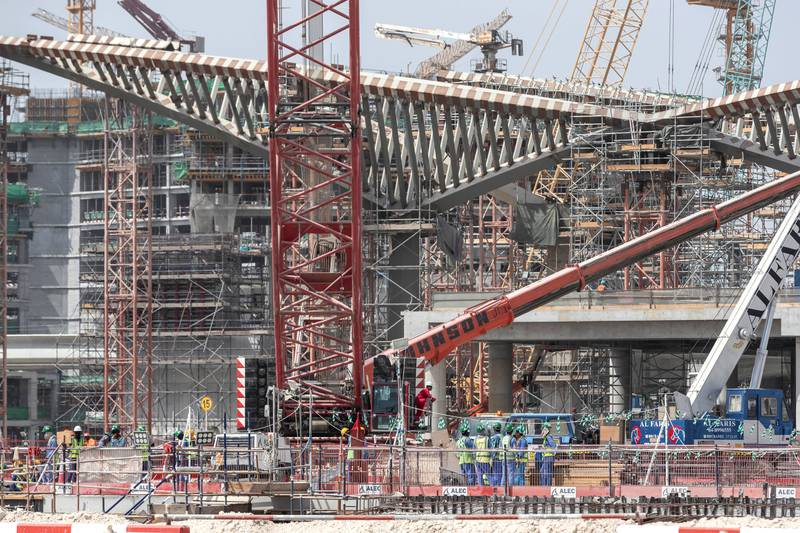 DUBAI, UNITED ARAB EMIRATES. 11 OCTOBER 2018. Site visit to the Expo 2020 construction site. Heavy construction underway in preperation to the build up to 2010. Structure that will be the Metro station next to the main part of the site. (Photo: Antonie Robertson/The National) Journalist: Ramola Talwar. Section: National.