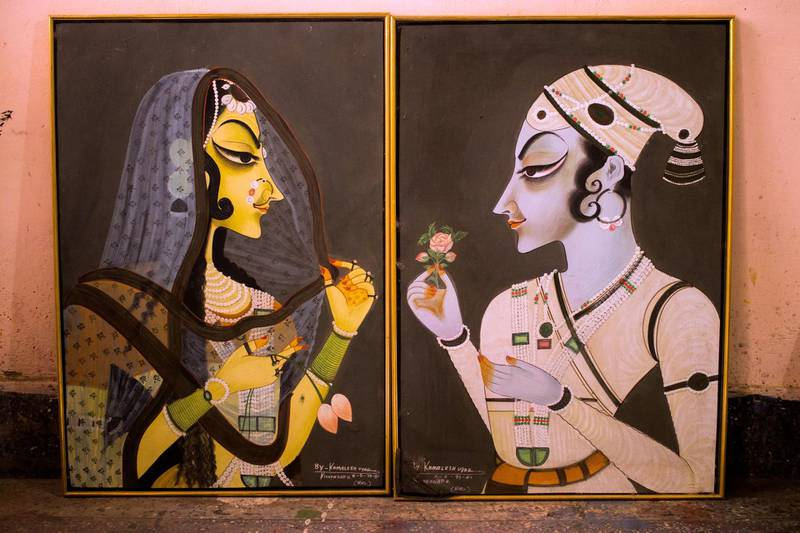 Portraits of Bani Thani and King Savant Singh made by Anil Vyas, one of the last handful of painters, who retain the traditional style with accuracy, even today. Courtesy: Sanket Jain