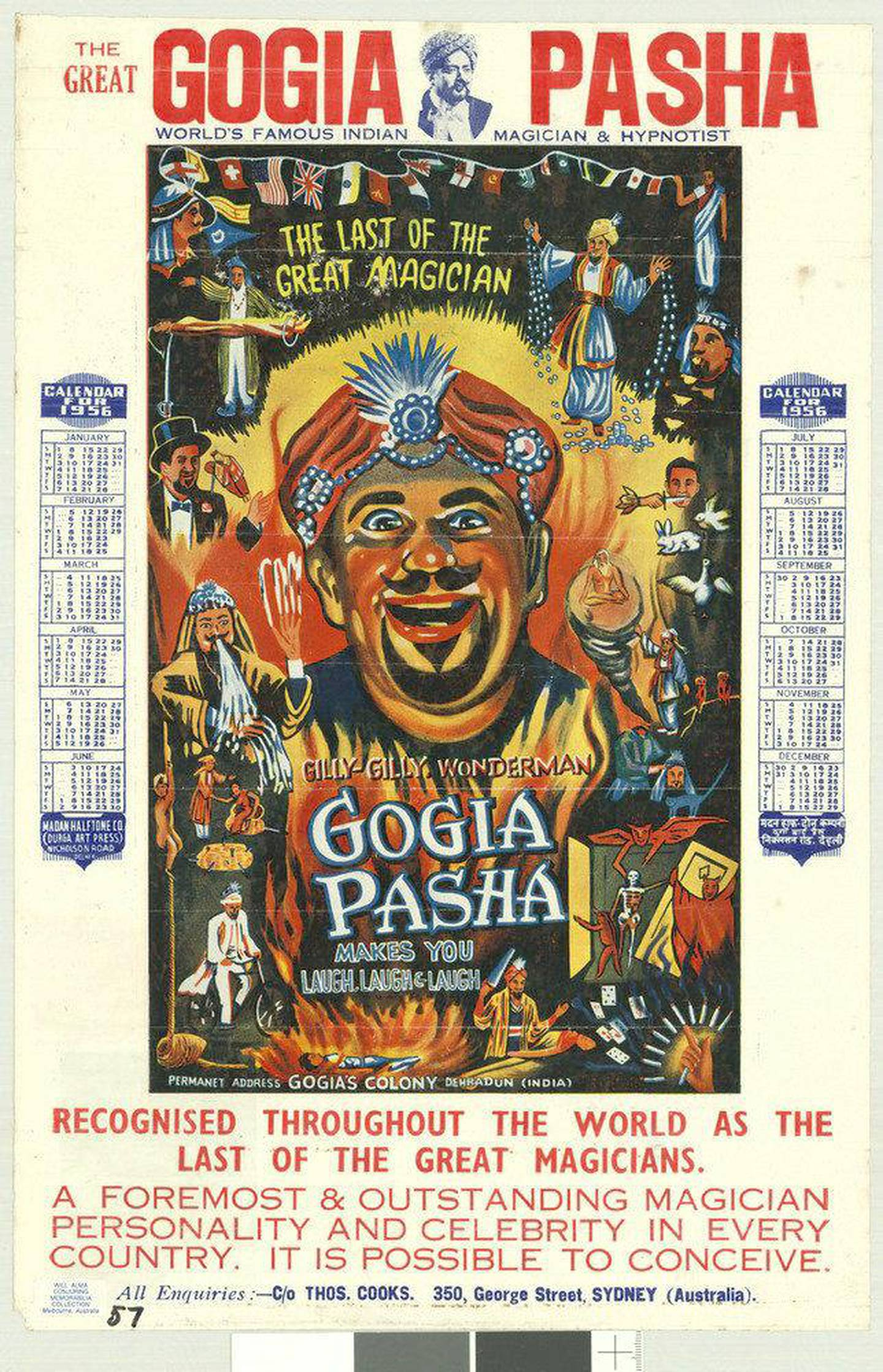 Publicity calendar for the 1956 Australian tour of Gogia Pasha, 'The last of the great magicians' (Alma Collection, State Library of Victoria) photo_credit Nicolas Zubrzycki