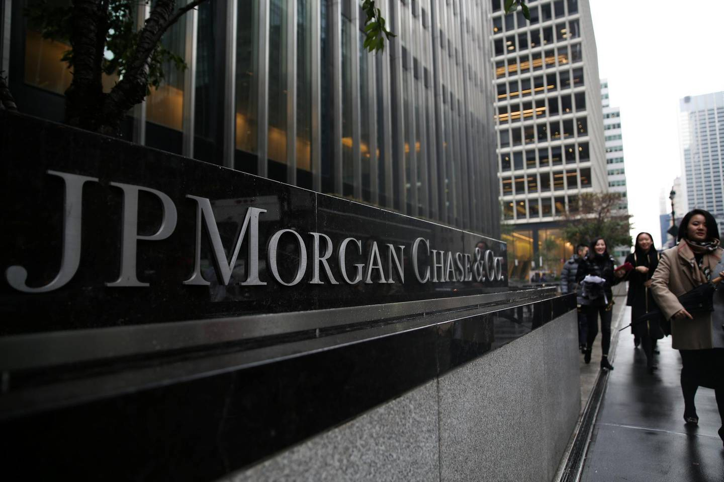 A sign of JP Morgan Chase Bank is seen in front of their headquarters tower in Manhattan, New York, U.S., November 13, 2017. REUTERS/Amr Alfiky