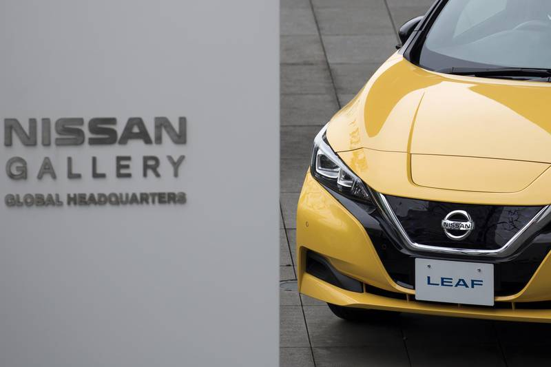 A Nissan Motor Co. Leaf electric vehicle is displayed outside the company's headquarters in Yokohama, Japan, on Monday, Dec. 3, 2018. Nissan's independent board members met on Nov. 4 to selectCarlos Ghosn's successor as chairman, with their choice to replace the arrested car titan an indicator of the direction the automaker will likely take in its alliance with Renault SA. Photographer: Tomohiro Ohsumi/Bloomberg