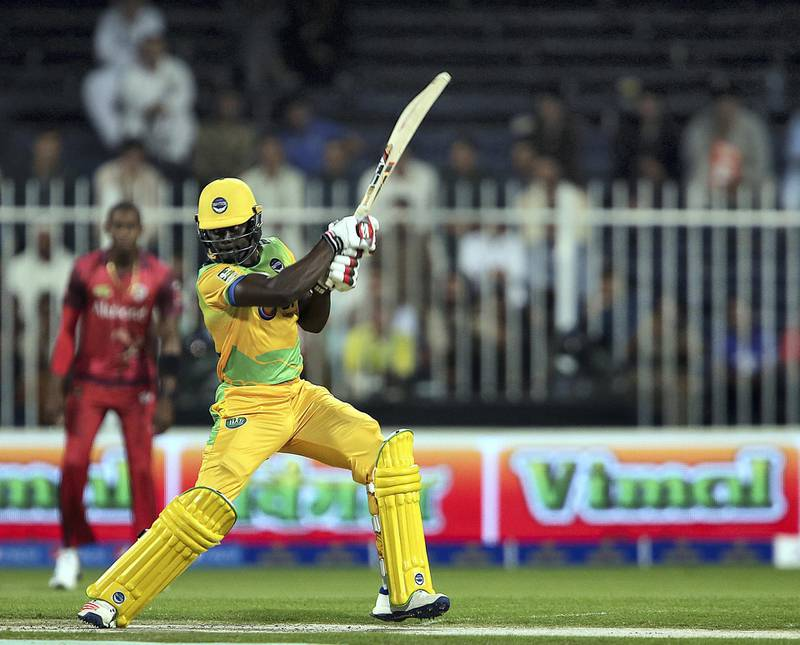 Sharjah, November, 24, 2018: Andre Fletcher of Pakthoons plays a shot agianst Sindhis in the T10 match at the Sharjah Cricket Stadium in Sharjah.  / Story by Paul Radley/ The National