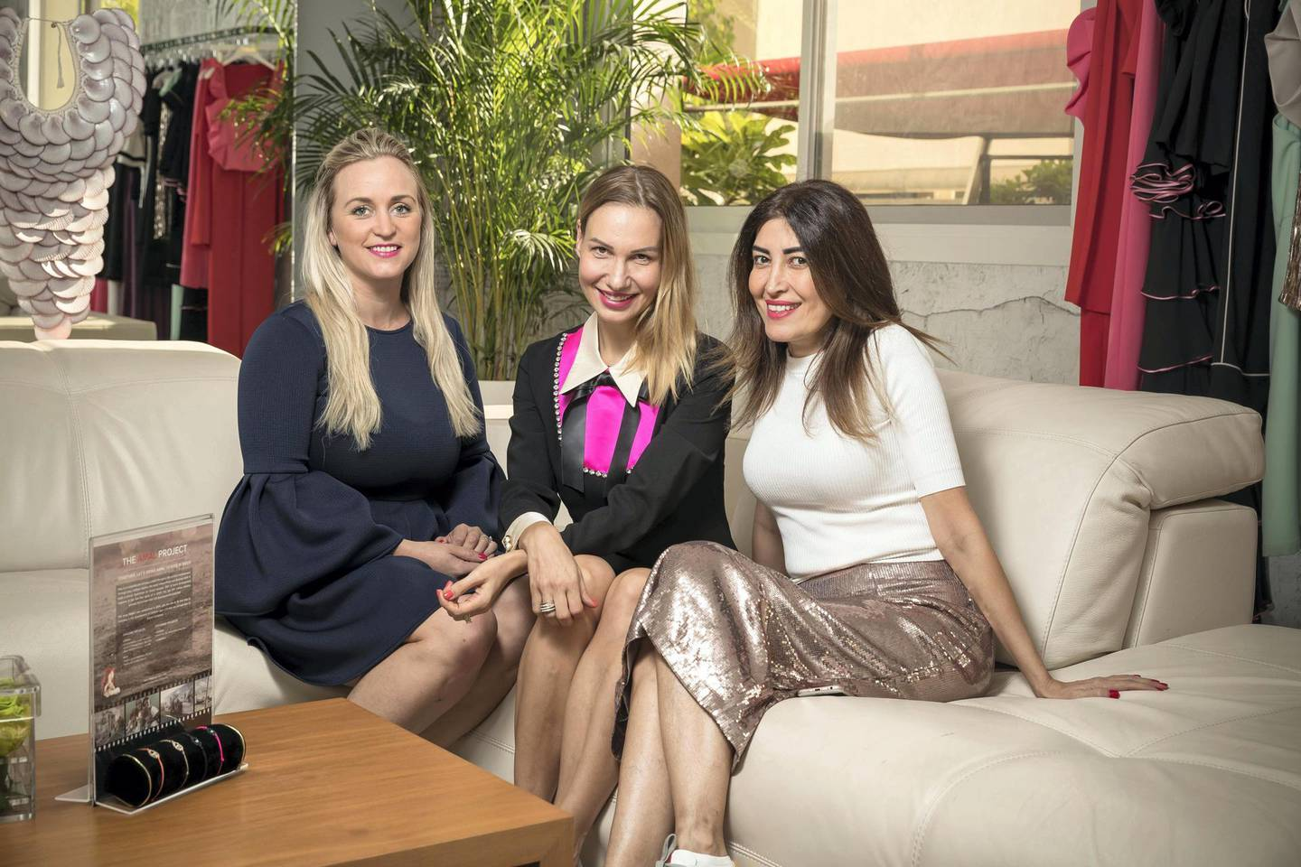 DUBAI, UNITED ARAB EMIRATES. 16 JANUARY 2018. LtoR: Christine Vorster , Nadine Arton, Lina Bou Alwan. Founders of the UAE charity The Amal Project, which is building solar-powered play centers for children in conflict areas abroad. (Photo: Antonie Robertson/The National) Journalist: Hafsa Lodi. Section: Weekend.