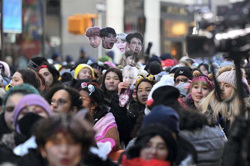 """NEW YORK, NEW YORK - FEBRUARY 21: Guests attend as the K-pop boy band BTS visits the """"Today"""" Show at Rockefeller Plaza on February 21, 2020 in New York City.   Dia Dipasupil/Getty Images/AFP"""