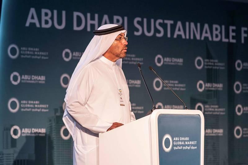 ABU DHABI, UNITED ARAB EMIRATES. 16 JANUARY 2019. The Abu Dhabi Sustainable Finance Forum at WFES as part of the Abu Dhabi Sustainability Week. Ahmed Al Sayegh, Chairman, Abu Dhabi Global Market. (Photo: Antonie Robertson/The National) Journalist: Sarmad Khan. Section: Business.