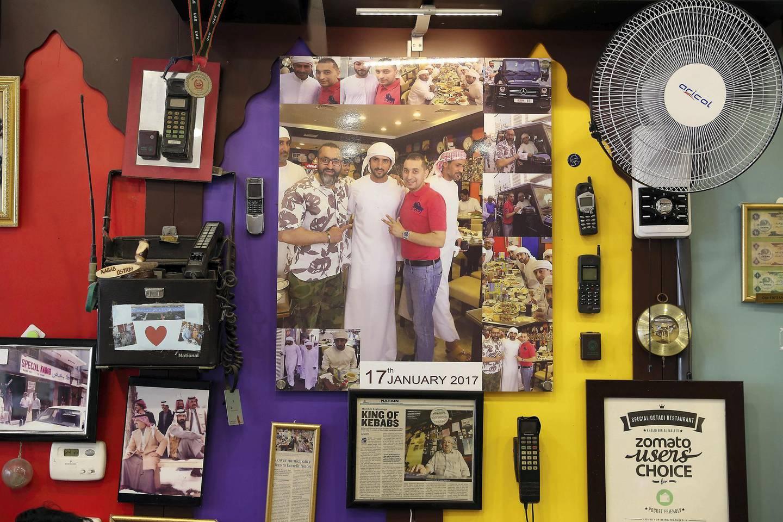 DUBAI , UNITED ARAB EMIRATES , January 9 ��� 2019 :- Pictures of Sheikh Hamdan bin Mohammed bin Rashid Al Maktoum , Crown Prince of Dubai at the Ustad Special Kabab Iranian restaurant in Bur Dubai in Dubai. ( Pawan Singh / The National ) For News. Story by Nick Webster