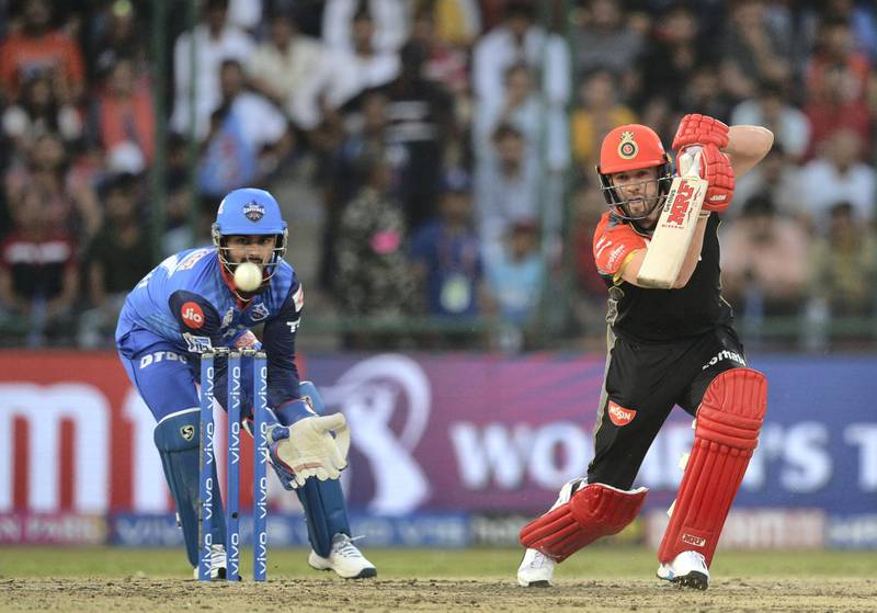 Royal Challengers Bangalore cricketer AB de Villiers plays a shot during the 2019 Indian Premier League (IPL) Twenty20 cricket match between Delhi Capitals and Royal Challengers Bangalore at the Feroz Shah Kotla cricket stadium in New Delhi on April 28, 2019. (Photo by Sajjad HUSSAIN / AFP) / ----IMAGE RESTRICTED TO EDITORIAL USE - STRICTLY NO COMMERCIAL USE-----