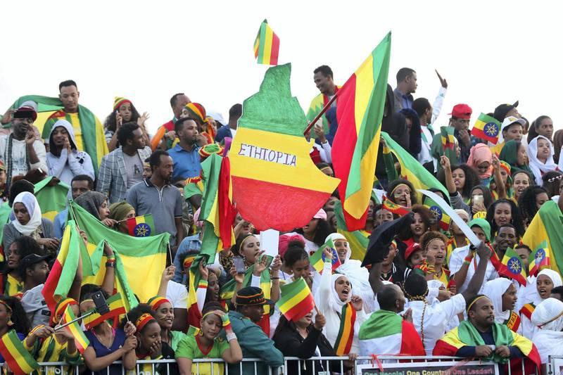 Dubai, United Arab Emirates - January 25, 2019: Ethiopia fans at the Standard Chartered Dubai Marathon 2019. Friday, January 25th, 2019 at Jumeirah, Dubai. Chris Whiteoak/The National