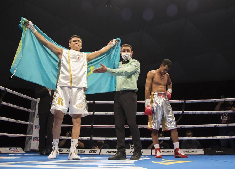 Dubai, United Arab Emirates -  Trusynbay Kulakhmet of Kazakhstan winning over Venezuelan boxer Heber Rendon at the Rotunda, Ceasar's Palace, Bluewaters Island, Dubai.  Leslie Pable for The National