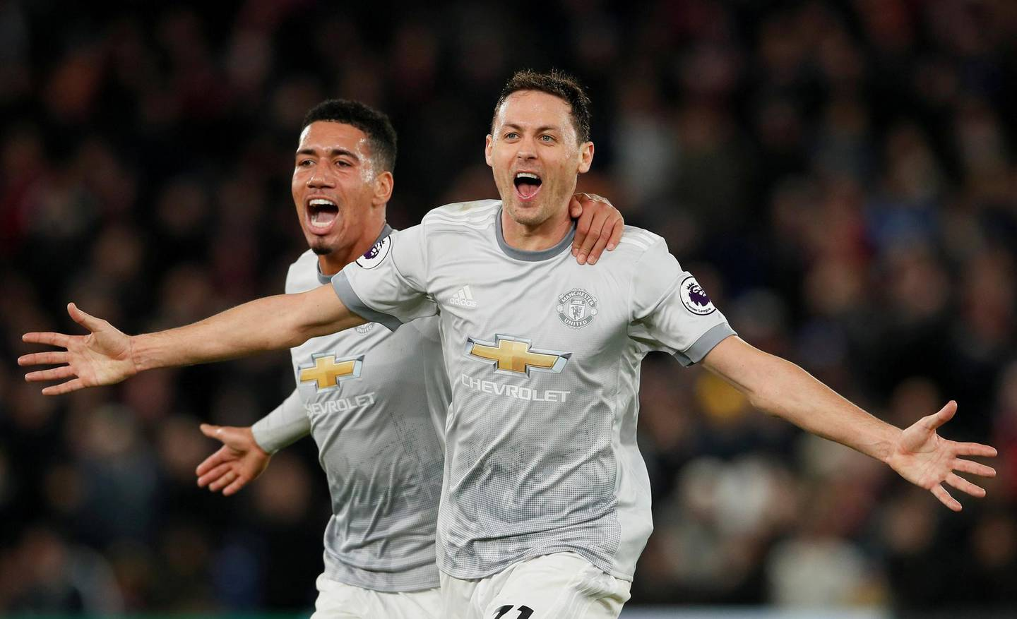 """Soccer Football - Premier League - Crystal Palace v Manchester United - Selhurst Park, London, Britain - March 5, 2018   Manchester United's Nemanja Matic celebrates scoring their third goal with Chris Smalling   REUTERS/David Klein    EDITORIAL USE ONLY. No use with unauthorized audio, video, data, fixture lists, club/league logos or """"live"""" services. Online in-match use limited to 75 images, no video emulation. No use in betting, games or single club/league/player publications.  Please contact your account representative for further details.     TPX IMAGES OF THE DAY"""